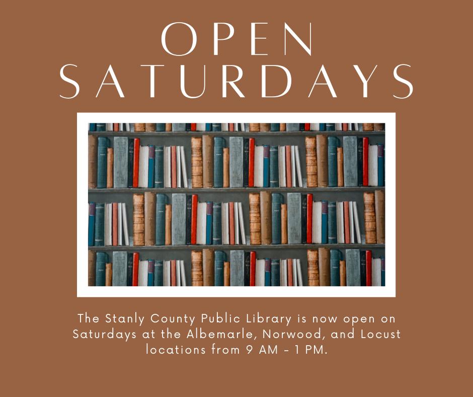 Open on Saturdays!