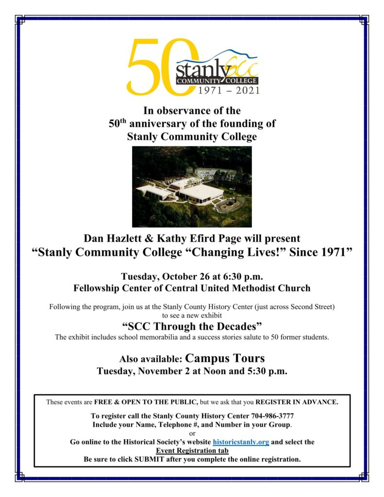 """""""Stanly Community College: 'Changing Lives!' Since 1971"""" – A Historical Society Program"""